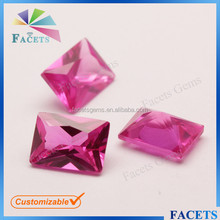 FACETS GEMS Loose Sell Rectangle Rose Synthetic Ruby Rough Stone
