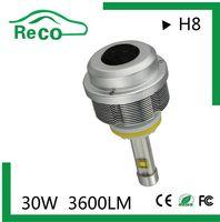 Best selling 12v car led headlight h8,high beam and low beam 30w h8 head led lighting