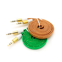 colorful 1m gold plated nylon weaves flat audio/aux/av cable for headphone/speaker