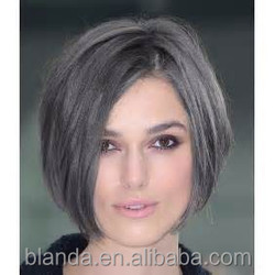 Fashion Grey Human Hair Wigs, Human Hair Lace Front Wigs Without Bangs, Afro Wig