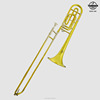 Bb tenor trombone brass instrument Key trombone with a case of double rotary valve gold