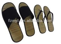 Straw hotel spa slippers flip flops with customized logo