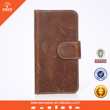 Oily Waxed Cow Leather Cheap Mobile Phone Flip Case for iphone 6