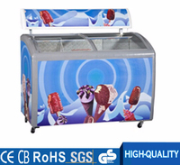 Curved glass door showcase chest freezer for ice cream