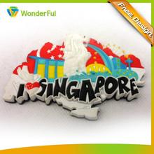 Wholesale Cheap Custom Made Singapore Souvenir Flexible Soft Pvc Rubber Badge