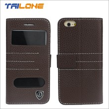 fancy flip cover leather case with window for iphone 5, for iphone 6