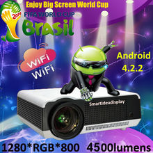 Brightness 4500lumen built-in Android4.2.2 Wifi Full HD LED Projector 1080p home theater Digital Video 3D Smart Proyector beamer
