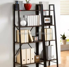 Modern solid wood library book shelf,Leaning Ladder liberary Book Shelf White 5 tier Shelves Media Cases Wall Mount Stand Home