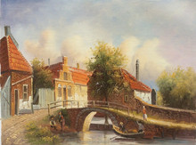 Old Style Holland Countryside Village Classical Handmade Oil Painting on Canvas for Wall Art Decoration
