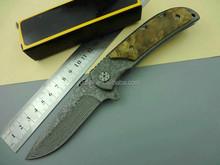 OEM 338 folding knife (Damascus) wooden bread knife case pocket knife UD50047