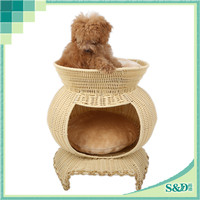 2015 Newest Good Quality Factory Price Wicker Cat House New PE Rattan Pet House