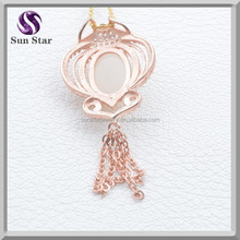 Sterling silver 925 fashion gemstone rose gold plate pendant with tassel