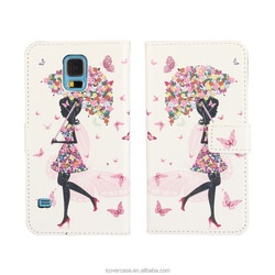 Factory Wholesale Hotsell Fashion PU Leather Cellphone Wallet Case For Samsung S5 i9600