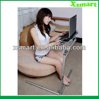 Adjustable folding laptop desk with mouse board for bed and couch