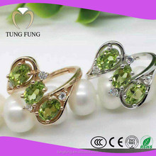 Factory new design fashion Peridot 925 sterling silver jewelry wholesale ring