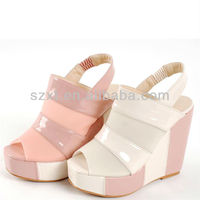 Fancy square toe high heel ladies sandals sexy women wedge sandal with