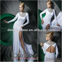 Sexy long beaded high neck evening dress with sleeves 2012 fashion design 112C17
