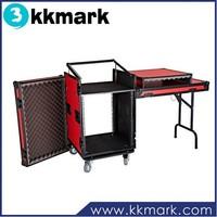 16u DJ Workstation Rack Flight Case with Side Tables and 12u Mixer Slant