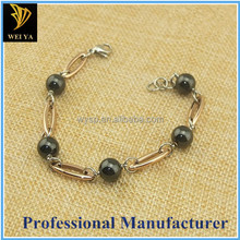New fashion stainless steel and lucite pearl chain and link stainless steel ladies bracelet