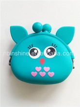 Silicone rubber animal kids coin purse , cute silicone wallet
