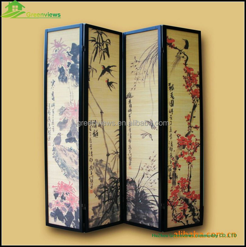 Antique wooden folding screen cheap decorative folding for Cheap decorative screens