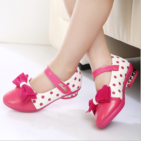 FC1091 fashion cute princess high heel kids dress shoes casual leather girls shoes with bowknot