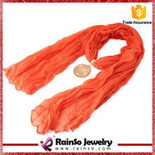 Natural Stone Polyester Jewelry Women Wholesale Scarf With Pendant