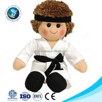 European standard cheap custom plush taekwondo doll fashion kids toy soft stuffed plush boy doll