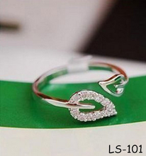 Fashion set auger two leaf lovers ring The adjustable ring