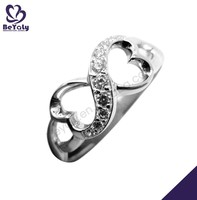 Hollow heart design cz 925 sterling silver bow ring