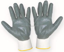 Grey nitrile coated glove 13G white nylon glove safety glove