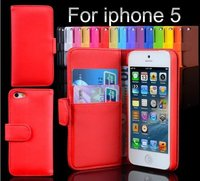 Free shipping! leather case For iPhone5 Stand Pouch Cover With Card Holder, 6 color for choose