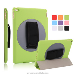 Wholesale Magic Hand Strap Holder 360 Degree Rotating Cover Leather Case with Auto Wake Up for iPad Air 2