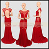 ER62978 red backless cap sleeve see-through jersey prom dress