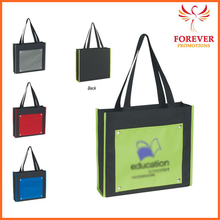 "2015 New Design Promotional Gifts 14"" Polyester Green Color Shopping Tote Bag"