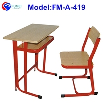 FM-A-419 Metal wood study table and chair set for students