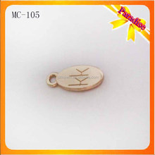 MC105 Custom logo engrave metal tag charms, personalized letter word phrase tags, company brand logo promotion charm jewelry