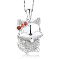 Silver 925 Small Squirrel Shaped Animal Heart Pendant Micro Pave Jewelry Wholesale with Garnet
