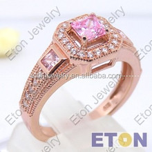 Luxry SQ zircon Rose gold Plated 925 silver men's ring-(R25858)
