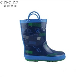 2015 New Desig Blue Handle Style With Graphical Printing ,High Qulity And Cheap Rubber Rain Boot For Boys