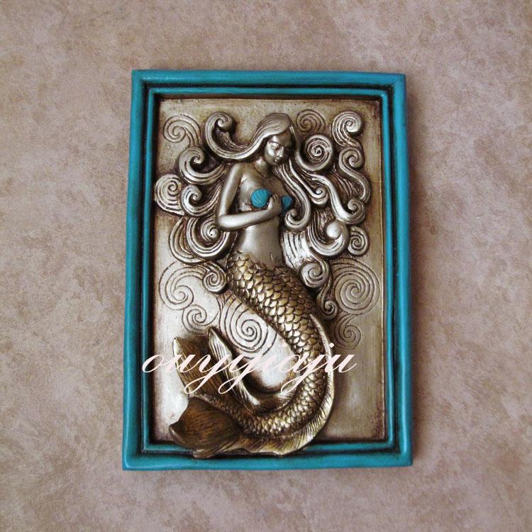 Resin Decorative Beautiful Woman Fish Wall Art Decor Buy