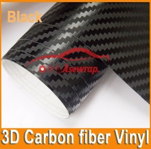 1.52*30M Car Body Film Sticker Hot Sales 3D Black Carbon Fiber Car Wrapping Vinyl