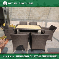 cheap rattan dining table and dining chair furniture outdoor