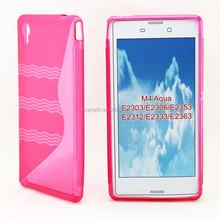 2015 New Arrival TPU Gel Soft Case For Sony Xperia M4 Aqua/E2303 s line design Mobilephone Case Cover Bag