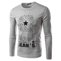 2015 New Arrival Hot Sale Men's O-Neck Slim FIt Printed T-shirts M-XXL