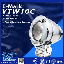 Y&T New headlight 1080 lumens motorcycle led lights 10w 6000K 12V LED with chrome Housing Motorcycle Light Black Color