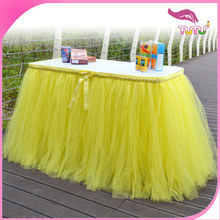 Hot sale yellow tulle table skirt event supplies table skirting party table cover