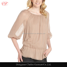 Elastic peplum hem chiffon blouses ladies elegant plus size blouse