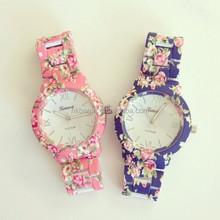 High quality Geneva flower watch vintage fashion women men unisex watch floral