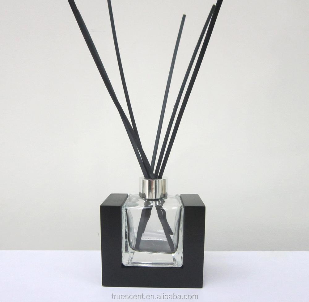 100ml 투명 사각형 리드 디퓨저 유리 병 나무 프레임 및 리드 스틱 ...